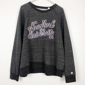 Tops - NYU Gray Oversized Crew Neck Sweatshirt Size XL